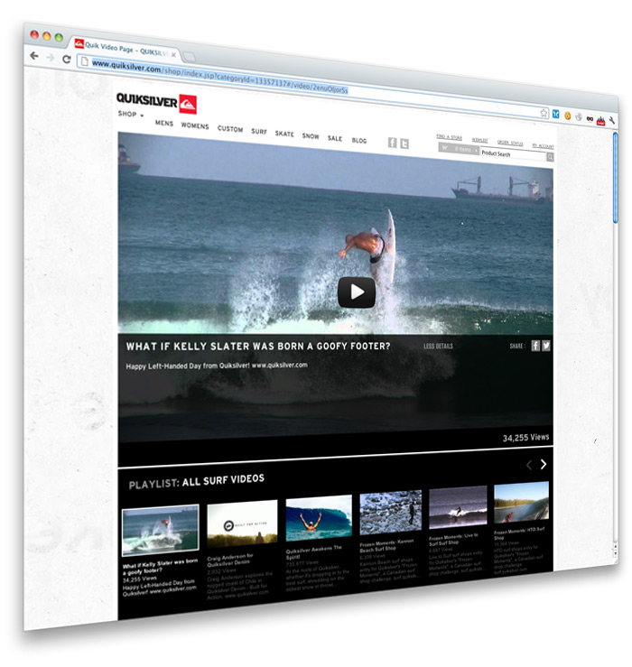 Quiksilver Videos Page